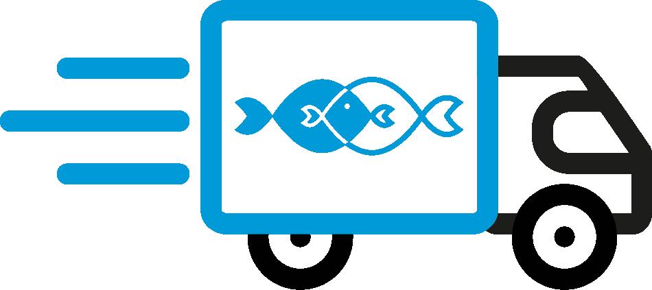 Frischer Fisch mit kontaktloser Lieferung